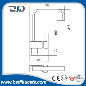 U-Tülle-langer Ansatz-quadratischer Auslegung-Küche-Hahn-Messingmischer