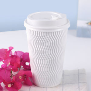 Ondulation de la cuvette de papier jetable pour le café de boissons chaudes 8oz 12oz 16oz de Ziheng