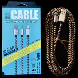 電話アクセサリ1m 2mの3m編まれた料金データ携帯電話USBケーブル