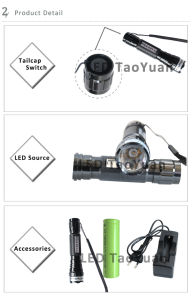 Para las pruebas de LED 3W UV Linterna