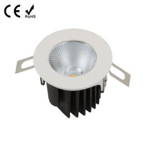 9W COB em alumínio branco de intensidade da luz descendente de LED branco quente