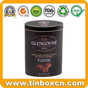 Whisky Oval Fudge tin box de dulces dulces dulces embalaje
