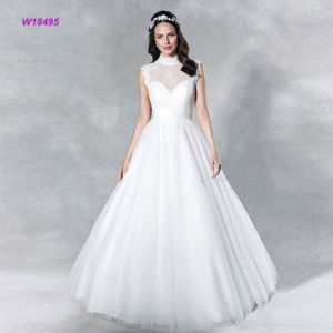 Hoher Ausschnitt weibliches A - Zeile Hochzeits-Kleid mit Schlüsselloch an der Rückseite