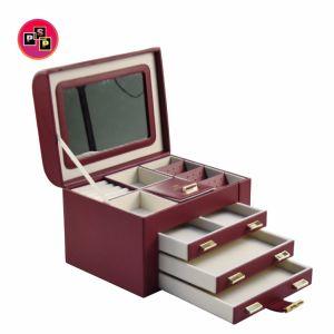 Estrutura Funcional jóias de madeira Multi Caixa de Armazenamento com correia presa (8765)