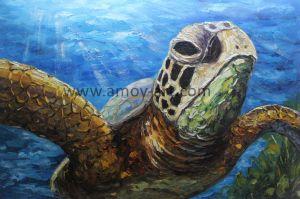 ホーム装飾のためのハンドメイドの海洋のTurtoiseの油絵