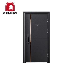 Casa de la puerta de metal de alto nivel de seguridad de acero Puerta de entrada con banda de acero inoxidable Decoración
