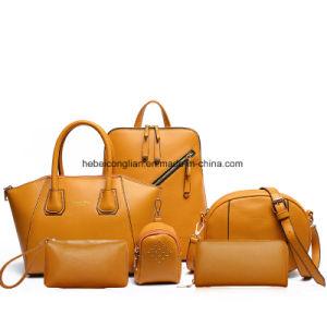 6pieces/Set de boodschapper-Beurs van de Rugzakken van de dubbel-Schouder van de Schooltas van het Bureau van vrouwen Leer Dame Handbags
