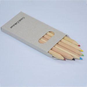 Cadeaux&Promotions Papeterie 3,5 pouces en bois naturel recyclé 6 pcs crayon de couleur dans la case de papier gris