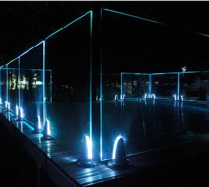 LEDの軽い柵のステンレス鋼デザインFramelessガラスの手すり