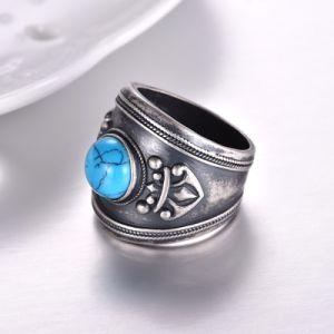 Nuevo diseño anillo de plata con Turquise Vintage