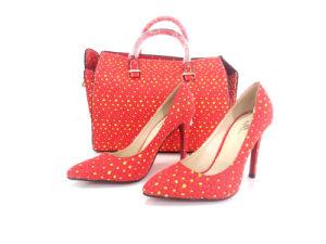 La coincidencia de telas de cera de Africanos en las bolsas y zapatos de damas