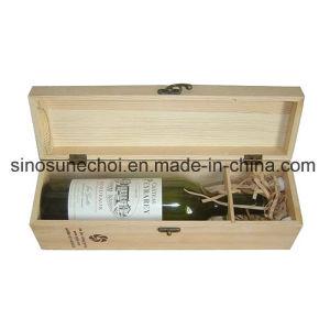 Customzied 1 botellas de vino caja de embalaje de madera con Logo