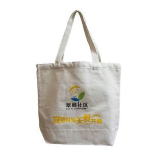 Design agradável impressão personalizada de logotipo Sacola grande de lona de algodão