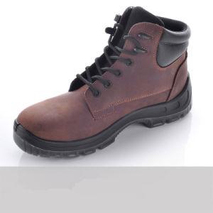 Puntera de acero y la placa de acero de corte alto zapatos de cuero
