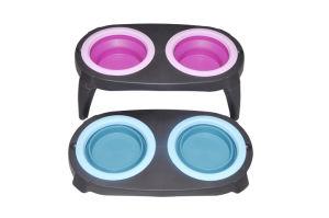 Taça duplo de silício de viagem portátil com sistema antiderrapante Pad Taça de dobragem para Cat Dog