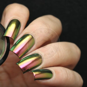 Золотого цвета хрома хамелеон переключение пигмент лак для ногтей