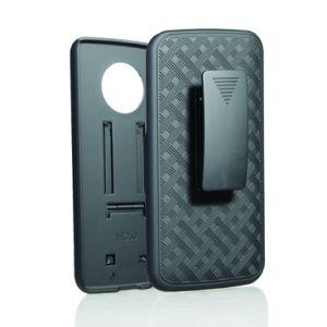 Motorola X4のホルスターの箱のための安く黒い織り方パターンケースの移動式ホルスターのコンボの箱