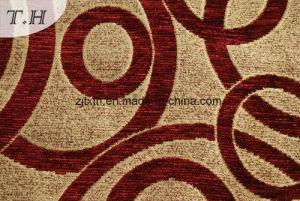 Tessuto rosso della mobilia del Chenille con il reticolo del cerchio