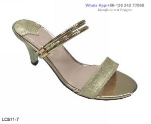 Les femmes de l'or Casual Peep Toe Diapositive chaussures sandales haut talon