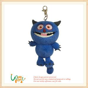 Giocattolo blu della bambola dell'anello della catena chiave del mostro della peluche molle piccolo