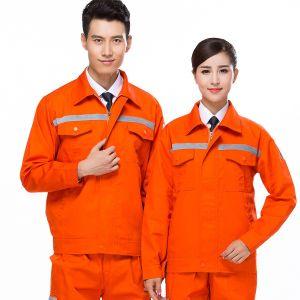 Cor-de-laranja roupas de segurança global 100% algodão