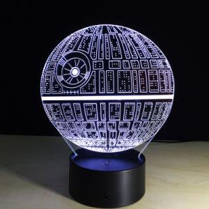 Многоцветное смерти Star 3D-LED ночь иллюзию лампа для Star войны вентиляторы
