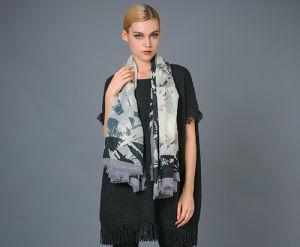 Impressão Digital Worsted Cashmere Square cachecol para Mulheres