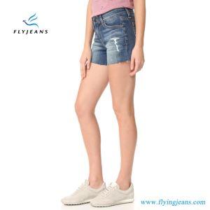 2017 Shorts blu del denim di taglio di aumento dei jeans delle ragazze/donne di modo METÀ DI