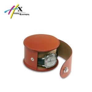 가죽 PVC 시계 단추, 지퍼를 가진 포장 선물 둥근 상자