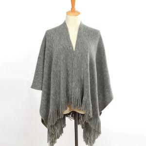 女性は作るアクリルのモヘアによって編まれる冬の暖かいフリンジのショール(YKY4582)を