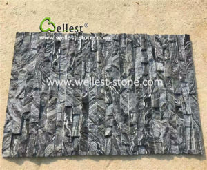 機能壁のクラッディングのための普及した灰色の木製の穀物の大理石文化石