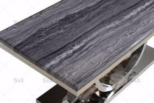 목성 회색 대리석 및 스테인리스 크롬 식탁