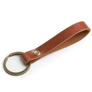 간단한 금속 Keyholder 주문 브라운 색깔 가죽 열쇠 고리 (081)