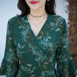 Petit manchon de trompette floral frais bas Chiffon vêtements des femmes