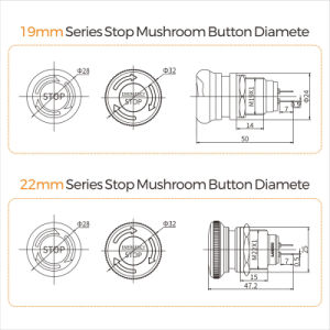 Lanboo 22mmシリーズ押しロックの非常停止ボタンスイッチ