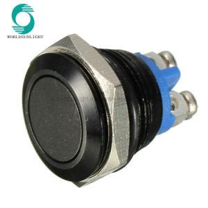 Multicolor 3A 250V AC 16mm Démarrer bouton de klaxon Vert Bleu Noir métal or poussoir métallique étanche