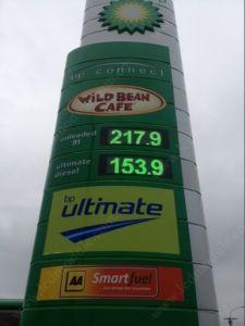 Sinal de preços de gás do LED