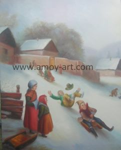 Esqui no Inverno artesanais pintura a óleo para a decoração da casa
