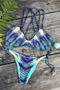 """Swimsuit """"sexy"""" nobre do bordado das mulheres do biquini francês da corda do triângulo"""