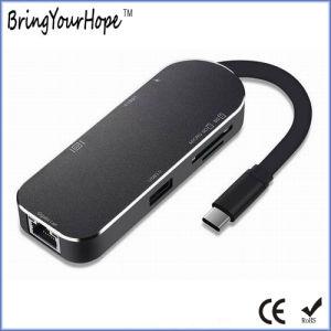 7en1 HDMI USB RJ45-C Type de livraison d'alimentation-C le moyeu du convertisseur (XH-Moyeu-009)