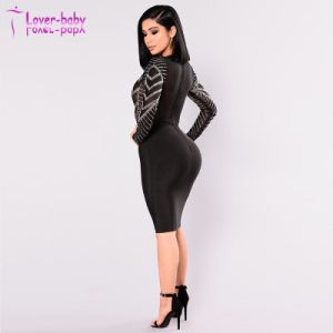 Comercio al por mayor de mujeres sexy mallas hecho personalizado de manga larga vendaje vestido MIDI