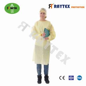 Raytex sellado al calor de SMS/PP/PE Bata de aislamiento de ropa