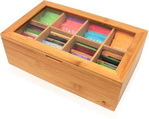 100% de bambú natural bolsa de té Caja con 8 compartimentos ajustables de almacenamiento de la caja de Té de madera con los imanes del organizador de la caja de la bolsa de té