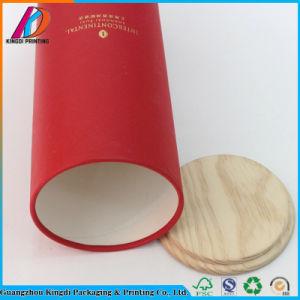 حارّ يختم صندوق من الورق المقوّى مستديرة مع غطاء خشبيّة