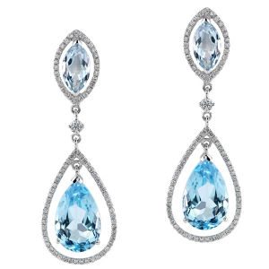 f8ccb3c58e6 Terminais banhados a ouro 925 topázio azul de prata brincos de queda de  Diamante