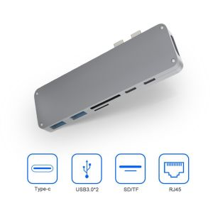 7 портов типа C Многофункциональный разъем HDMI и USB концентратор для настольных и портативных компьютеров