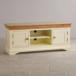 Pintado de blanco, madera maciza de roble Soporte de TV de pantalla ancha gabinete