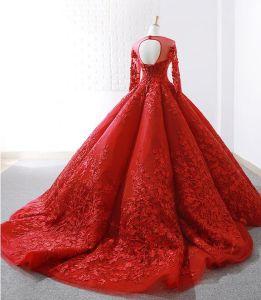 892e1a90d Mangas 3 4 nupcial rojo vestido de novia vestido de bola de encaje de 15