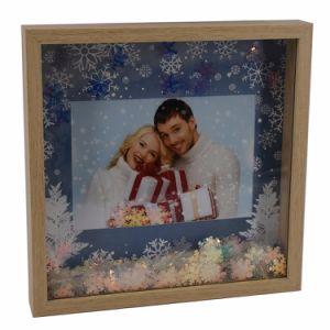 Nova aparência de madeira cintilante moldura fotográfica de Natal