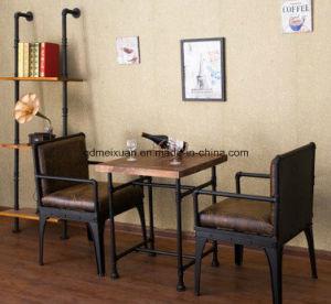 Café americano, Presidente de la barra de hierro forjado Loft viento industrial de alimentos de ocio Bar mesas y sillas y un conjunto (M-X3292)